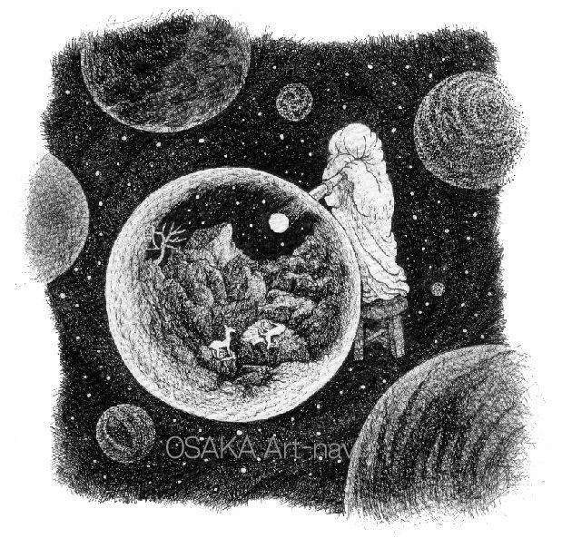 画像1: 【ペン画】 『 月夜の晩 』もとゆきこ