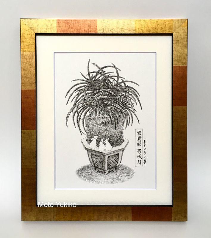 画像2: 【ペン画】『 富貴蘭  -弓張月-』  もとゆきこ