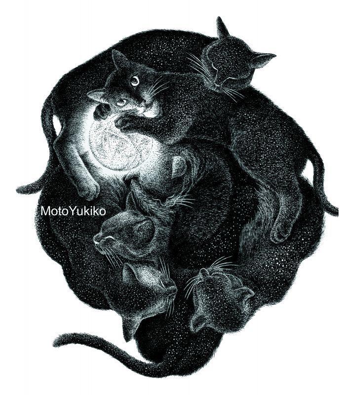 画像1: 【ペン画】『 月が綺麗ですね -黒猫宇宙1-』 もとゆきこ